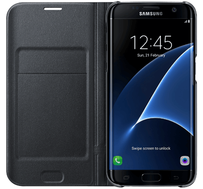 Galaxy S7 Edge LED View Cover Svart - Svart