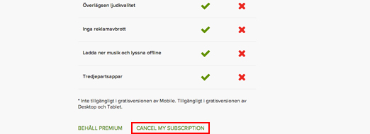 Klicka på Cancel subscription