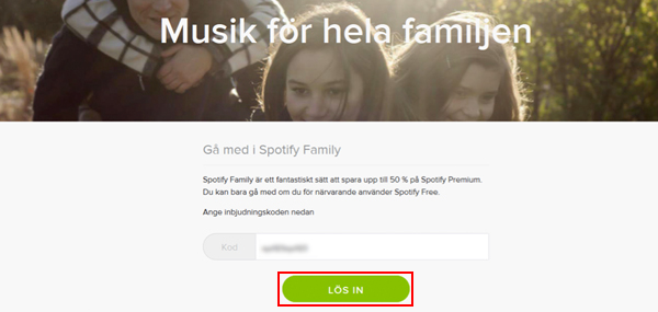 spotify lös in kod