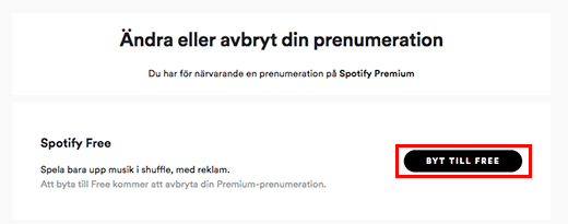 spotify avsluta premium